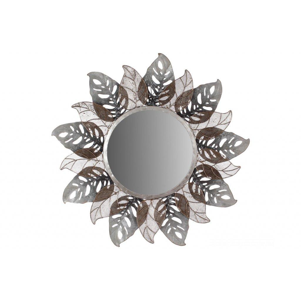 Zrkadlo, nástenná kovová dekorácia, motív listov