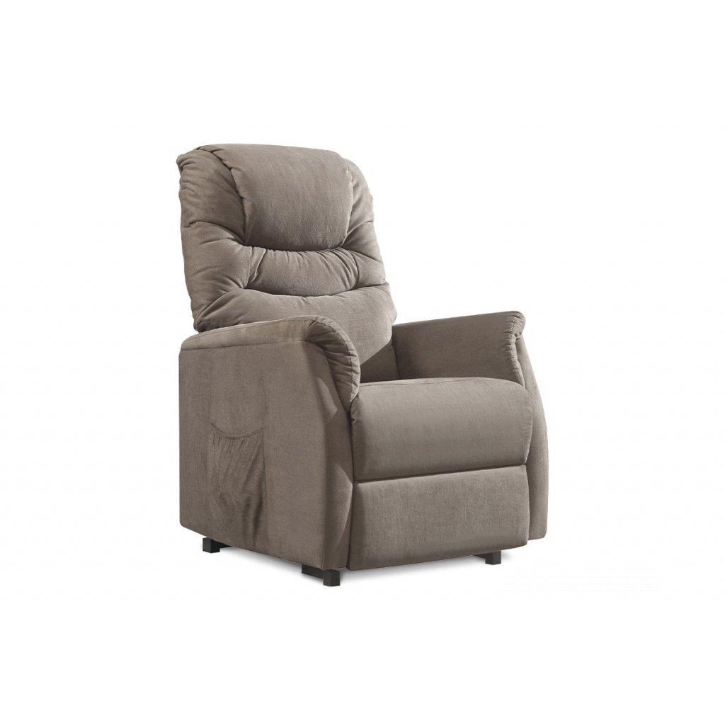 TV a relaxačné kreslo s elektrickým ovladaním, poťah cappuccino látka, 2 motory 240V/29V
