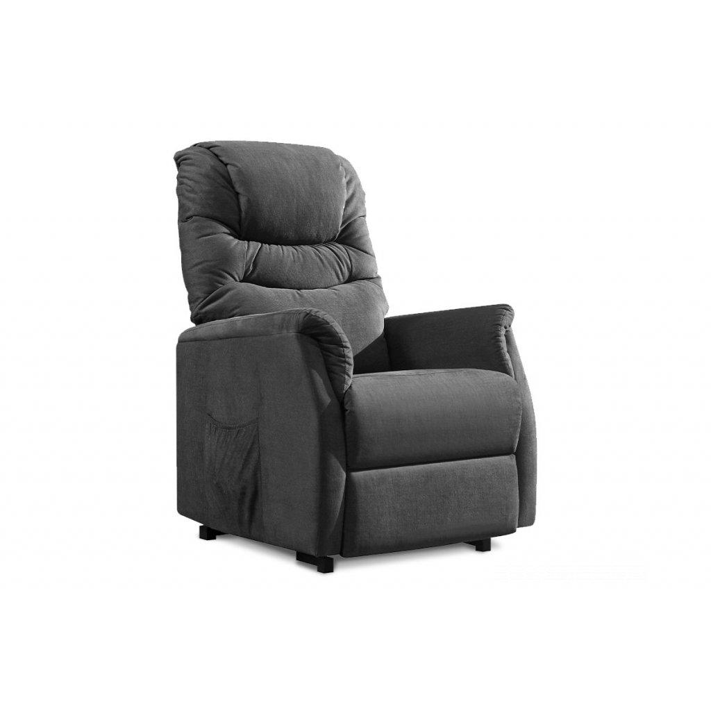 TV a relaxačné kreslo s elektrickým ovladaním, poťah sivá látka, 2 motory 240V/29V