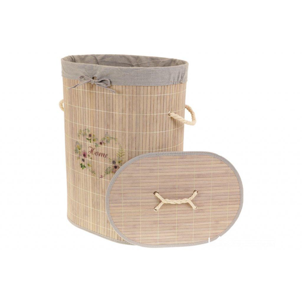 Koš na prádlo z bambusu šedo hnedý s nápisom Home oválny 42x54x30cm