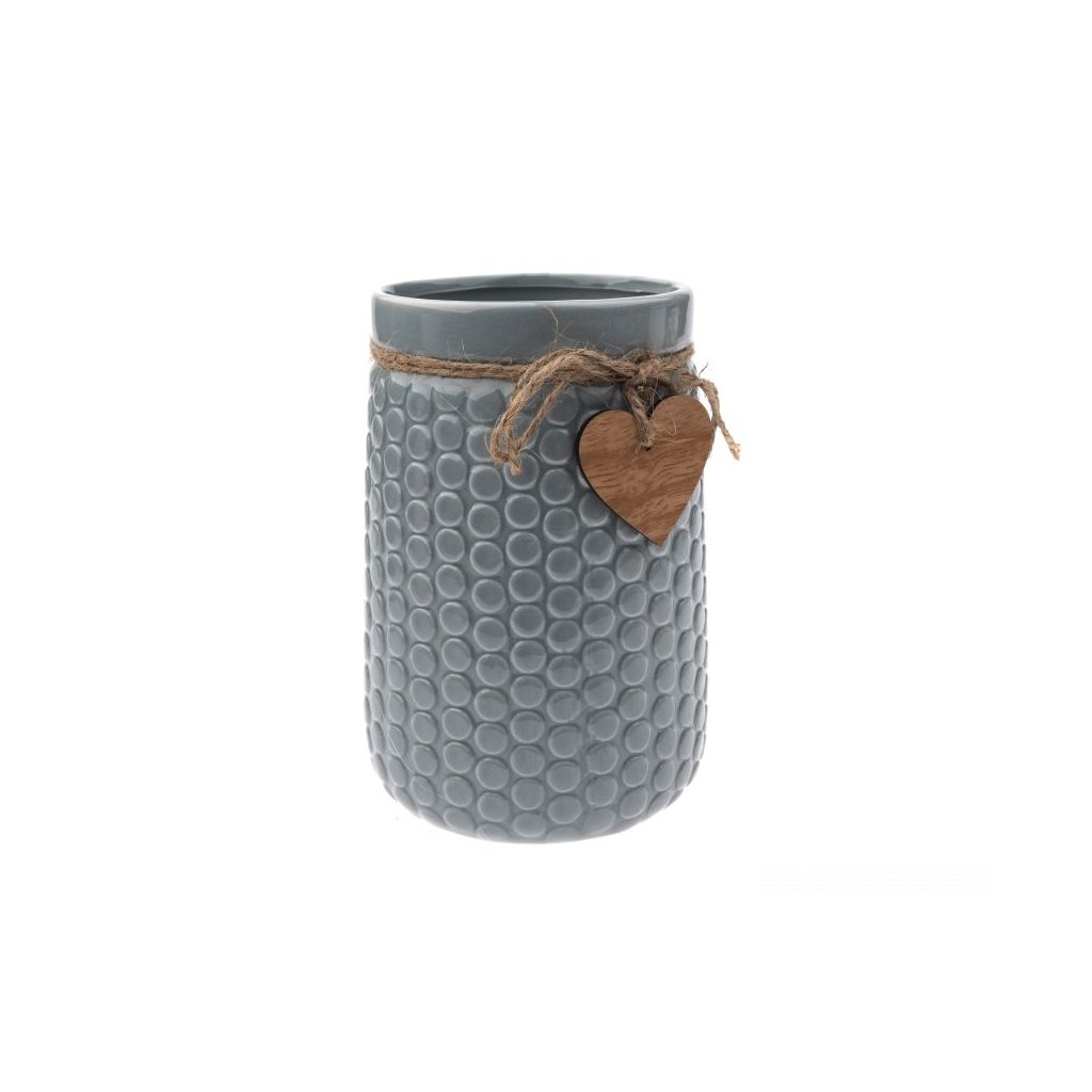 Keramická váza,sivá so srdiečkom,12x17,5x16,5cm