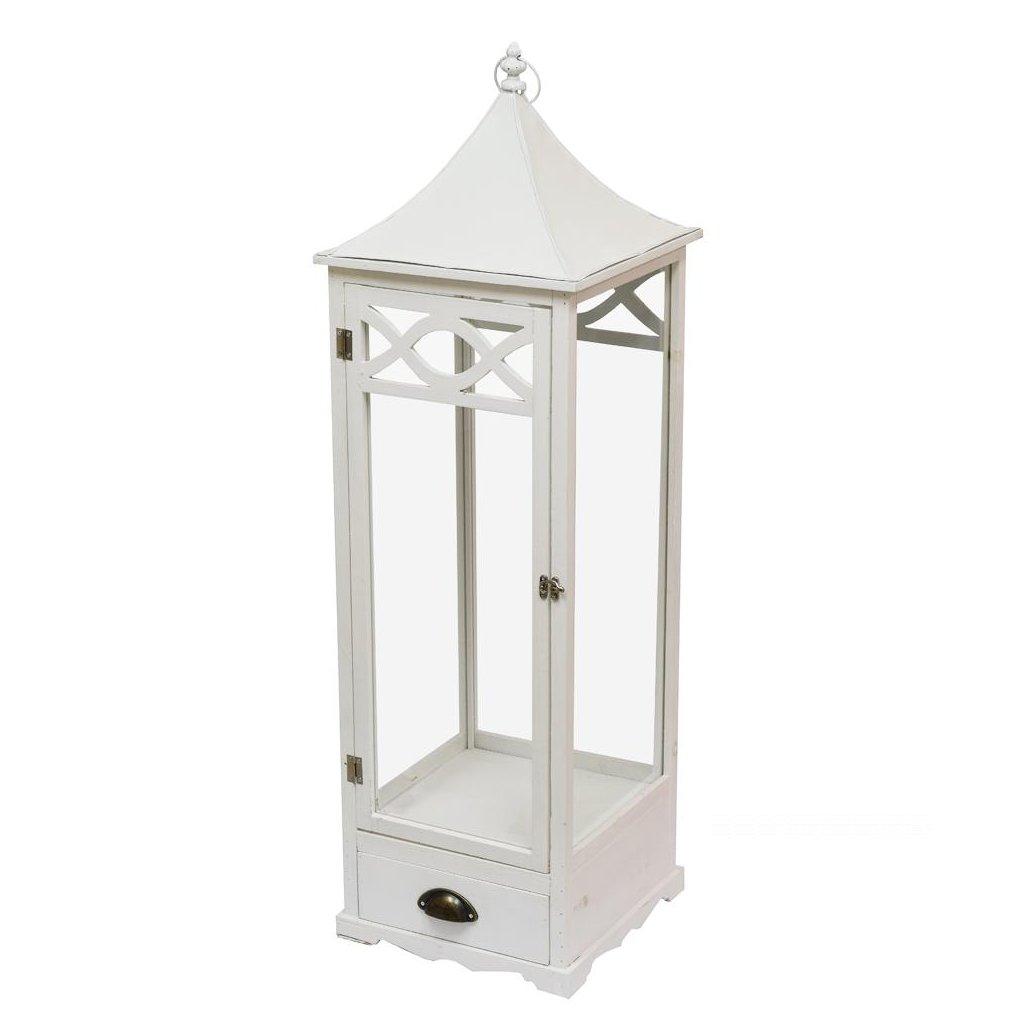 lampáš drevený so šuplíkom vintage biely 108x32,5x32,5cm