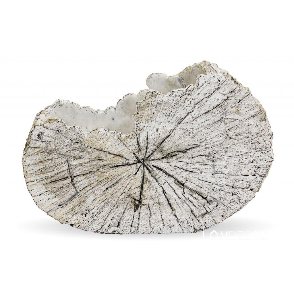 kvetináč betónový plát dreva svetlo šedý 18x26x11cm