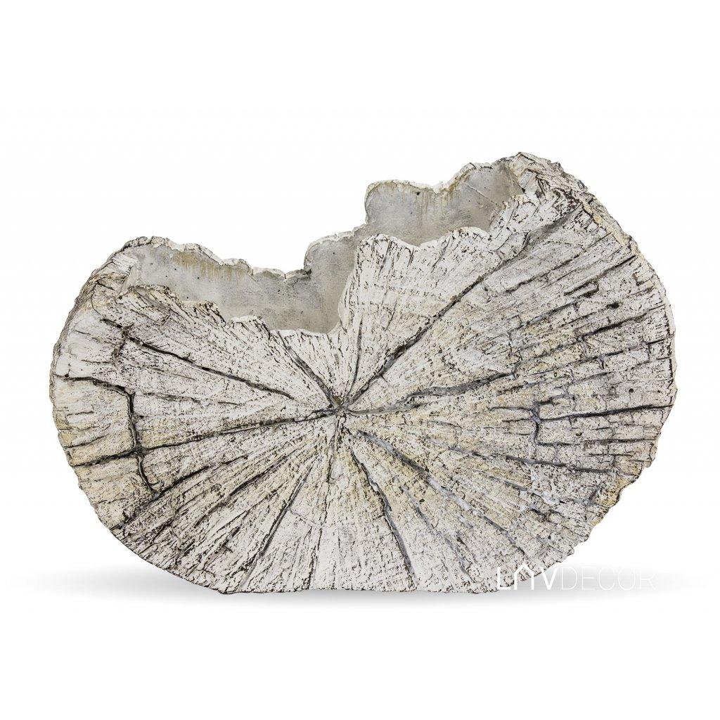 kvetináč betónový plát dreva svetlo šedý 15x22x9cm
