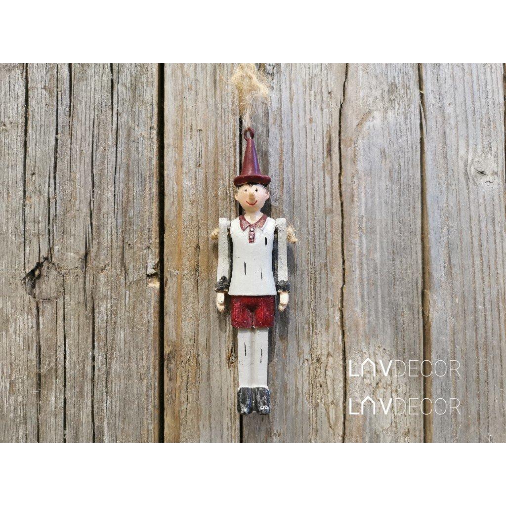 Pinokio na zavesenie vianočná postavička s pohyblivými rukami 3x10x2cm