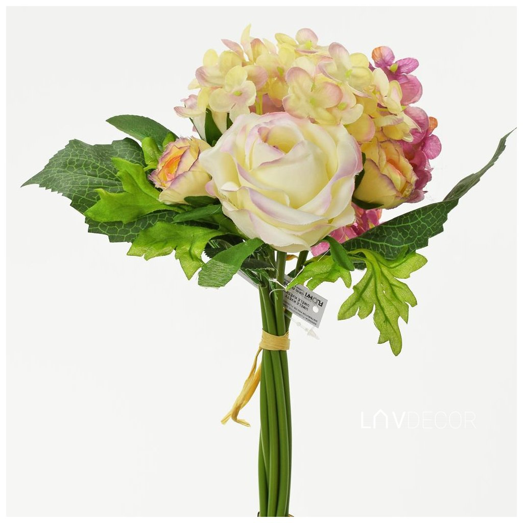 KYTICA RUŽA+RANUNCUL+HORTENZIA 28CM MIX 3FARIEB 29cm