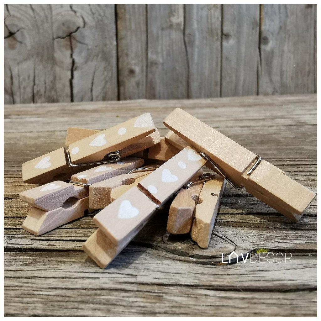štipec so srdiečkom drevený 4,5cm cena za 1ks