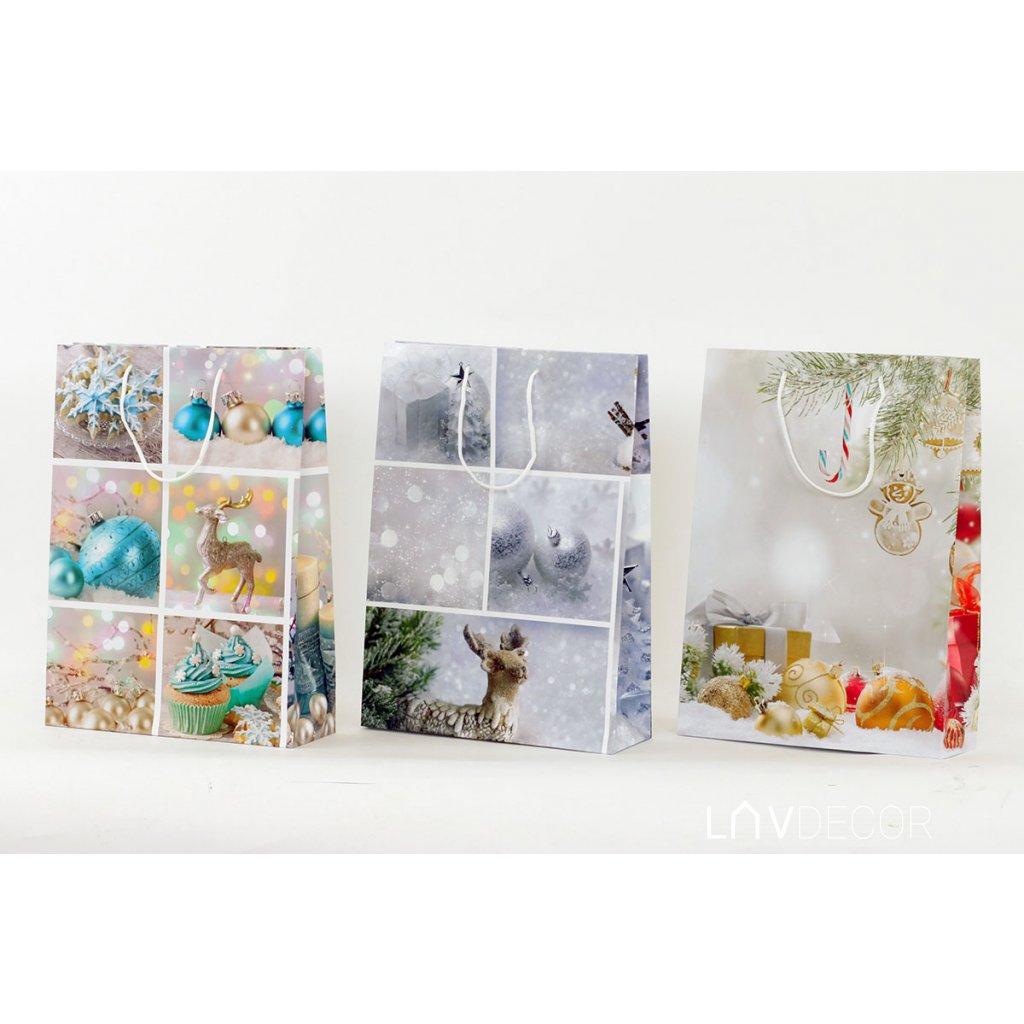 Papierová taška veľká, vianočný motív 25x8.5x34.5cm
