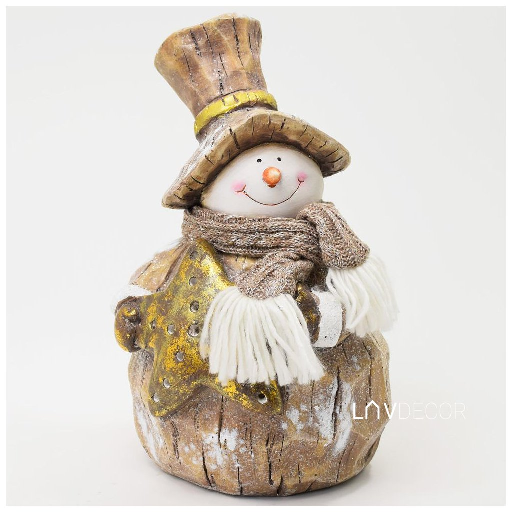 vianočná dekorácia SNEHULIAK+ŠÁL LED svietenie MGo keramika 24X22X38CM
