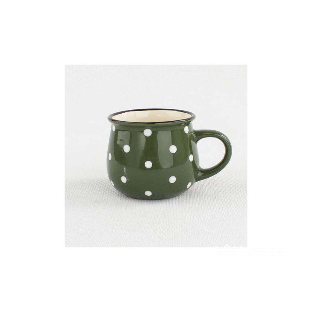 keramický hrnček s bodkami zelený 230ml