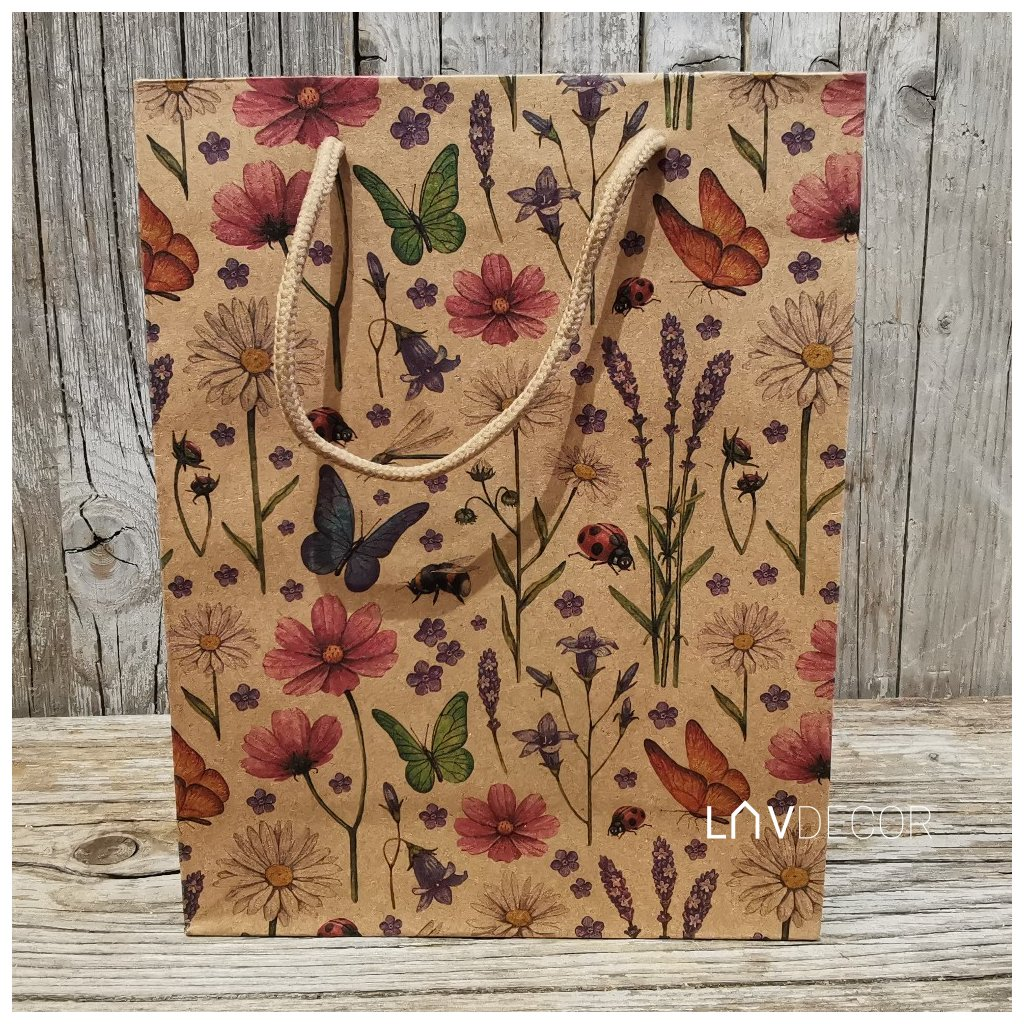 Papierová taška motýľ a levanduľa natural 19x24,5x8cm