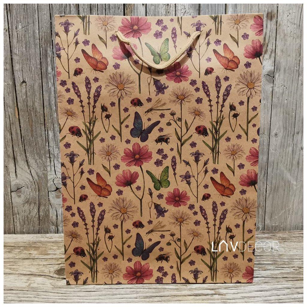 Papierová taška motýľ a levanduľa natural  24x33x8cm,cena za 1ks