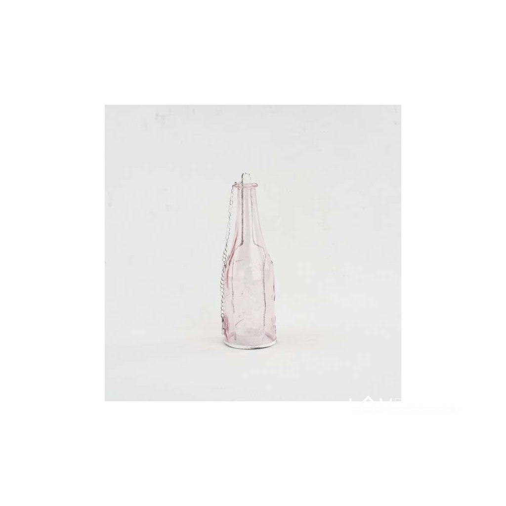 Závesný sklenený svietnik tvare fľaše 8×24×8cm