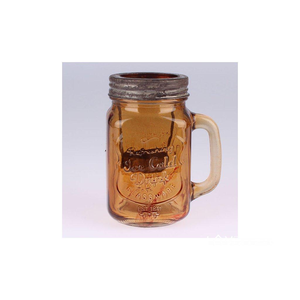 Sklenený Svietnik pohár hnedý 10,5×13,5×8cm