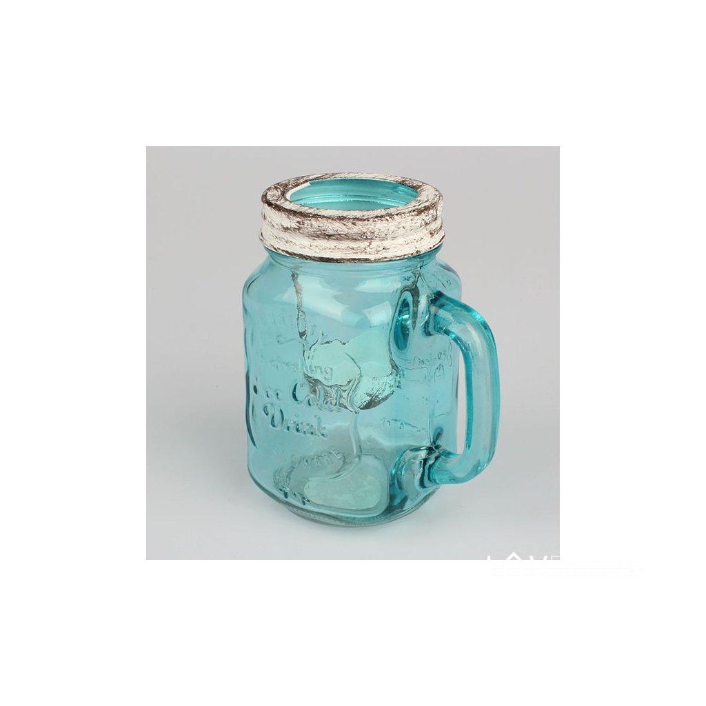 Sklenený Svietnik tyrkysovo modrý 10,5×13,5×8cm