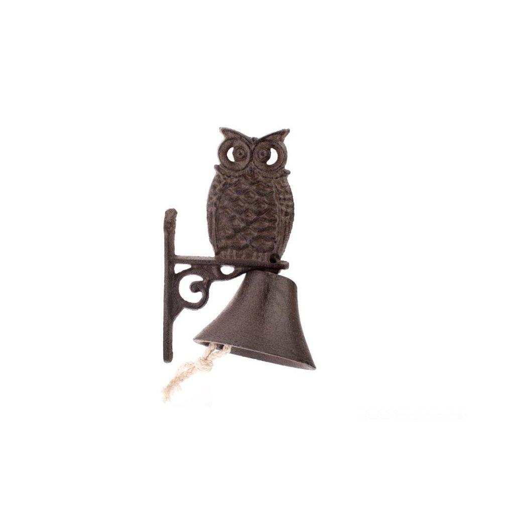 Liatinový zvonček - sova 11×16×8cm