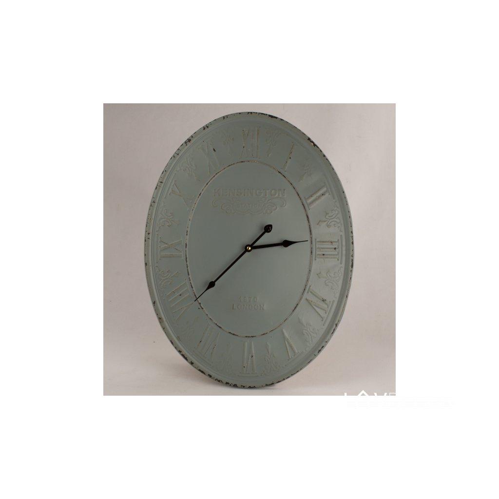 Kovové nástenné hodiny zelené vintage 45×60×4,5cm