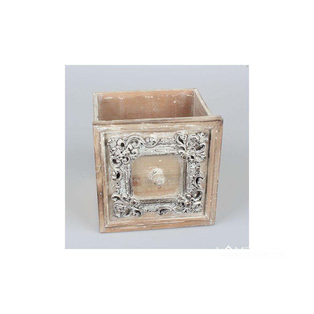 šuplík drevený obal na kvety vintage hnedý jemne bielený 18,5×18,5×18cm
