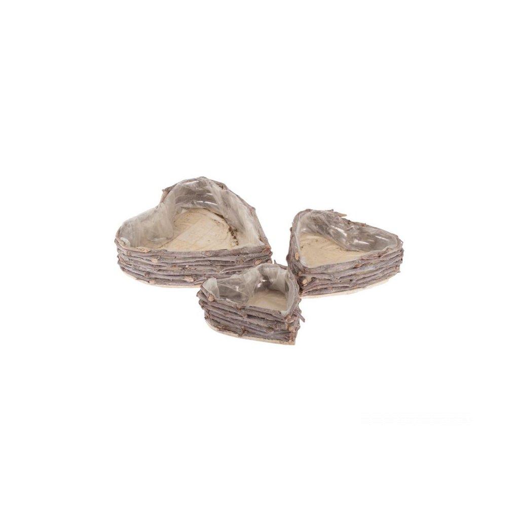 Prútený kvetináč srdce -cena za 3ks 32 × 30 × 8/25 × 24 × 6,5/20 × 19 × 6 cm