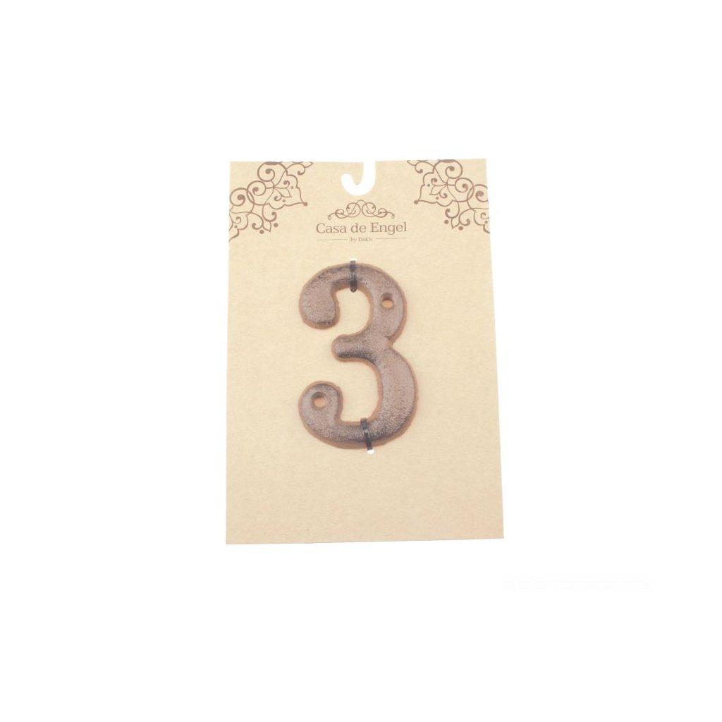 Liatinové číslo na dom tri 6×9×0,5cm