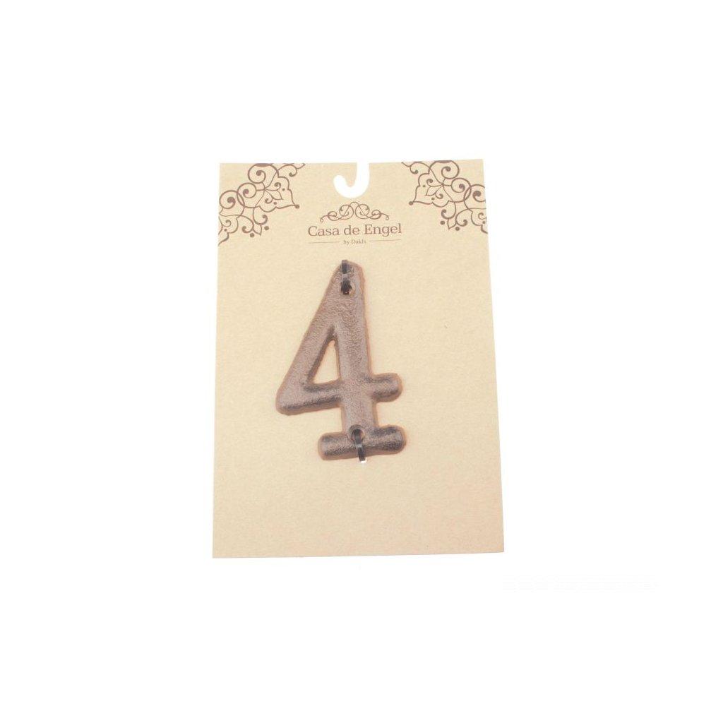 Liatinové číslo na dom  štyri 6×9×0,5cm