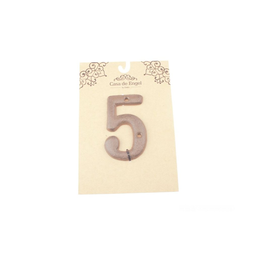 Liatinové číslo na dom päť 6×9×0,5cm