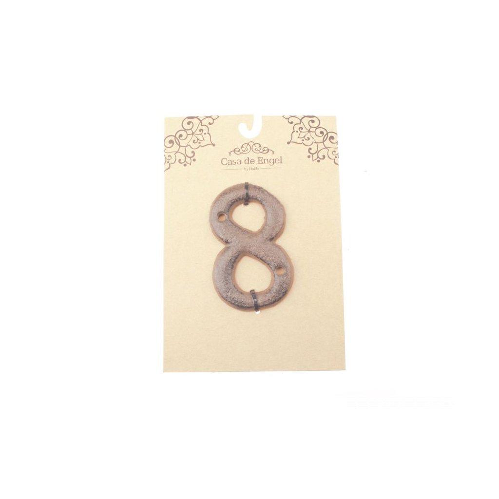 Liatinové číslo na dom osem 6×9×0,5cm