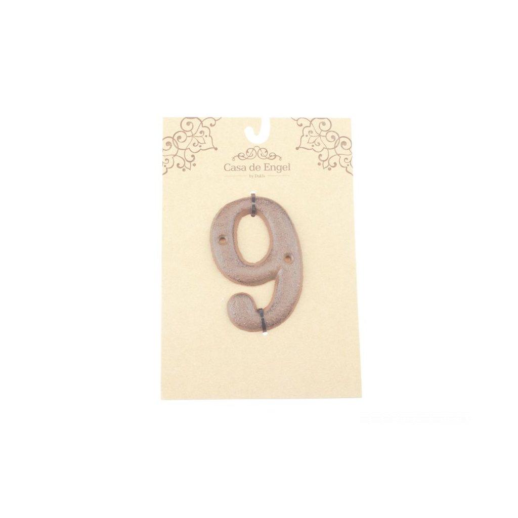 Liatinové číslo na dom deväť,6x9x0,5cm