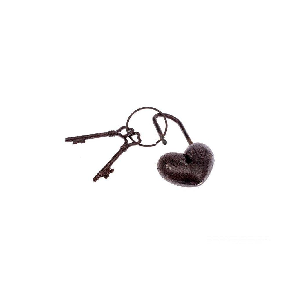 Liatinový zámok  srdce s kľúčami 13x4x9cm dekorácia