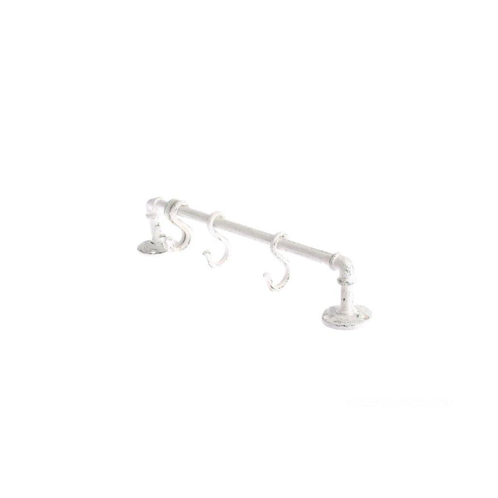Liatinový vešiak - biely,40x5,5x7cm