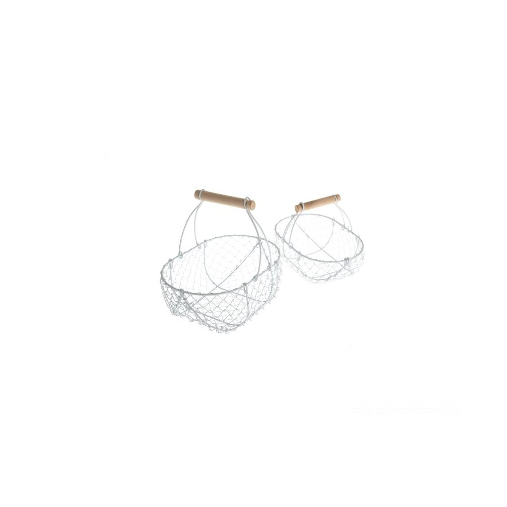 košíky drôtene biele - cena za 2ks 24×22×17/20×16×13,5cm