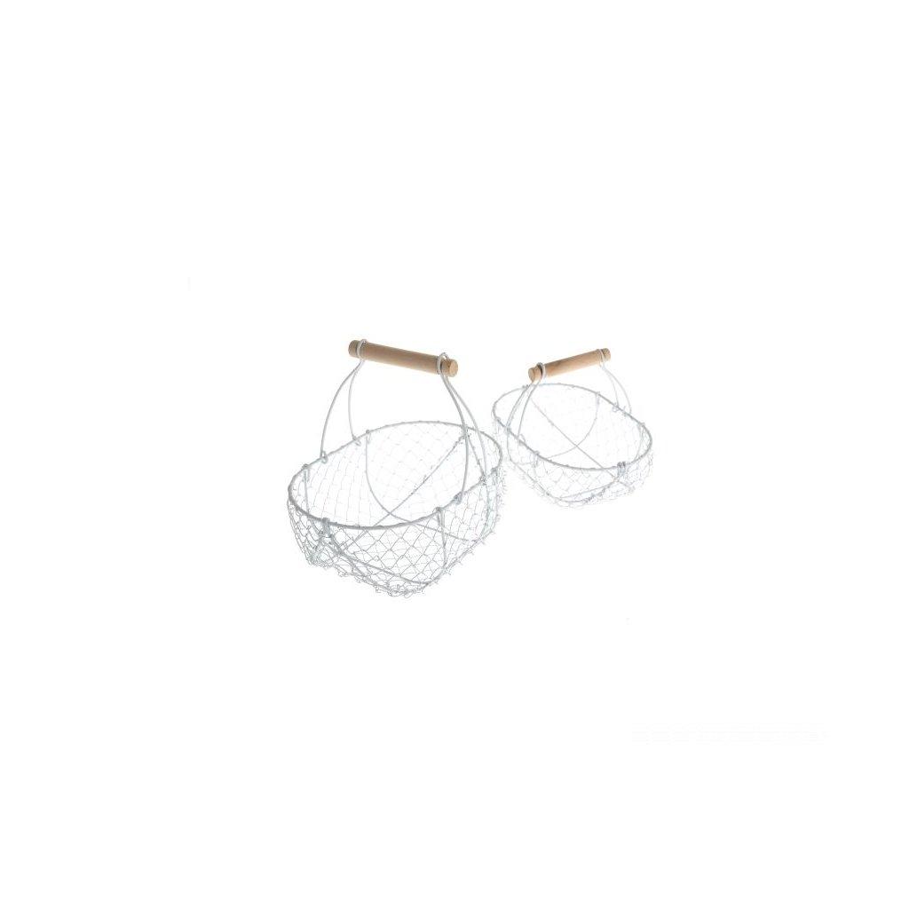 Kovové košíky biele - sadá 2ks