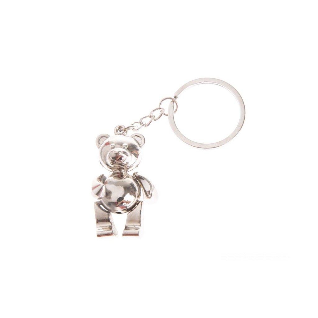 Kovová kľúčenka medvedík 5×11×0,9cm
