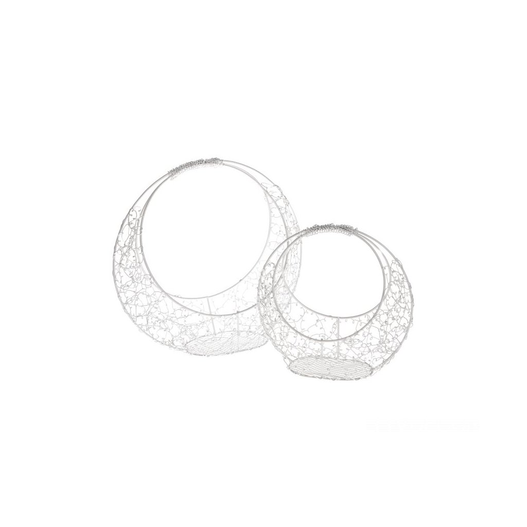 Kovové košíky biele- cena za 2ks 29 ×28×12/20×19,5×10cm