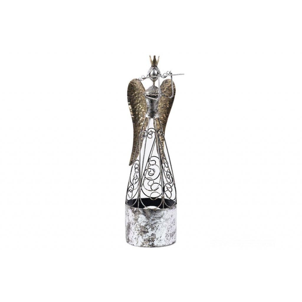 Anjel s flautou, kovová dekorácia 12,5x12,5x45cm