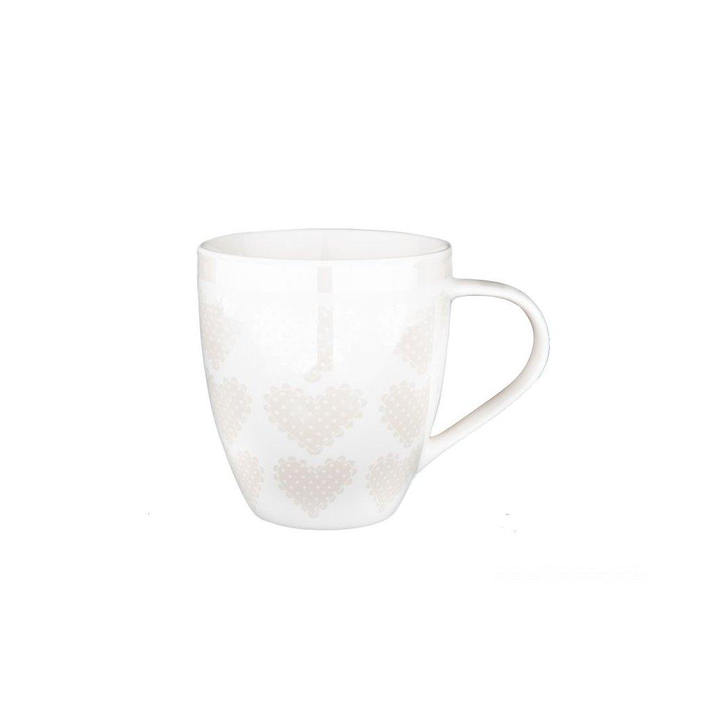 hrnček srdiečka porcelánový biely 490ml