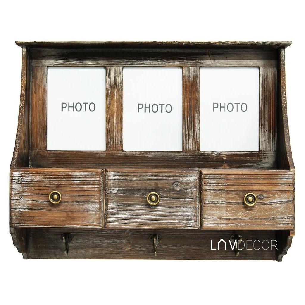 drevená polička so zásuvkami  vintage 60,5x49x17CM
