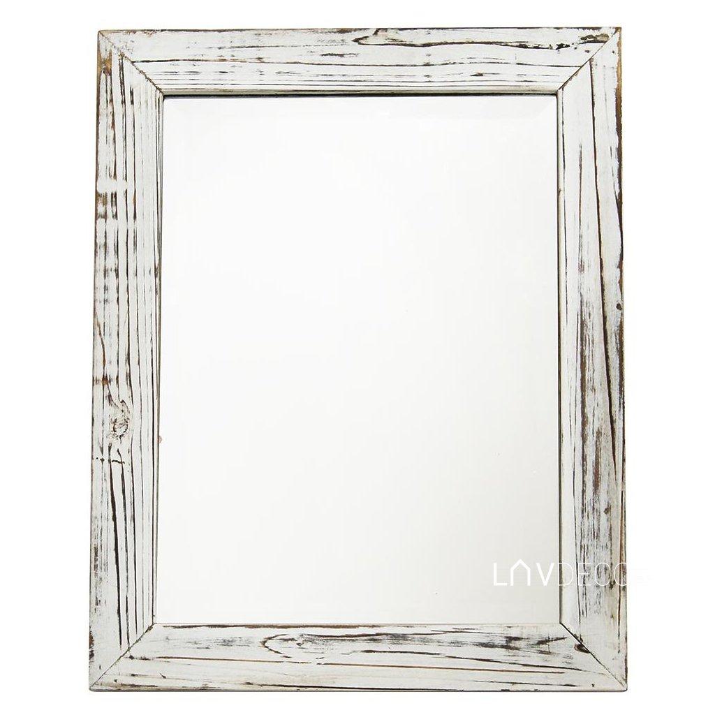 zrkadlo- drevený rám  vintage biele 40X50X2CM