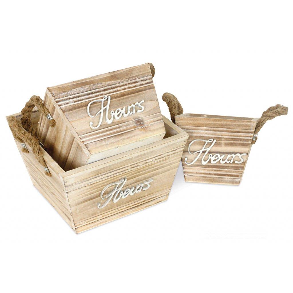 Obal drevený s igelitovou vložkou cena za sadu 3 ks veľký 20x20x12cm