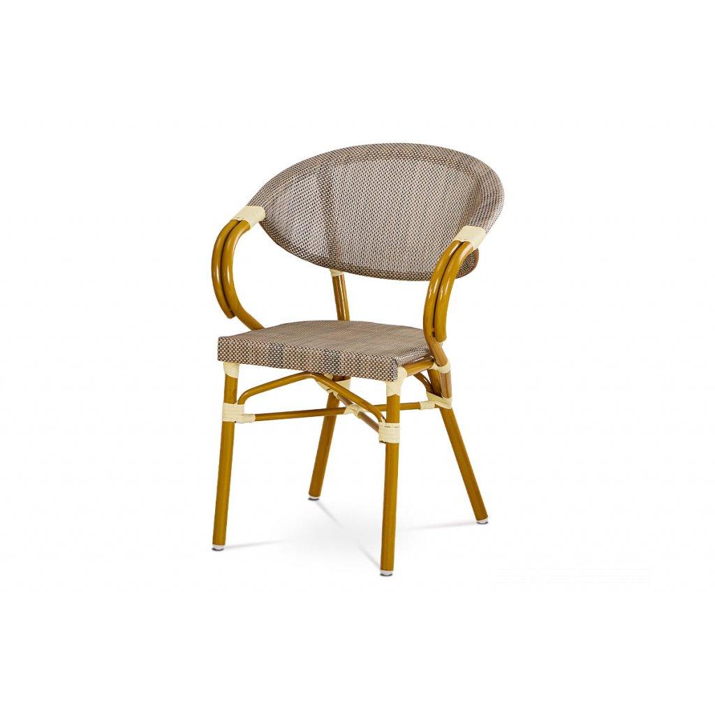 záhradná stolička, kov zlatý, látka cappuccino 57x58x82x45 cm