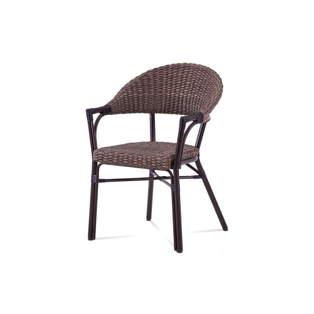 záhradná stolička, hnedý kov, hnedý ratan