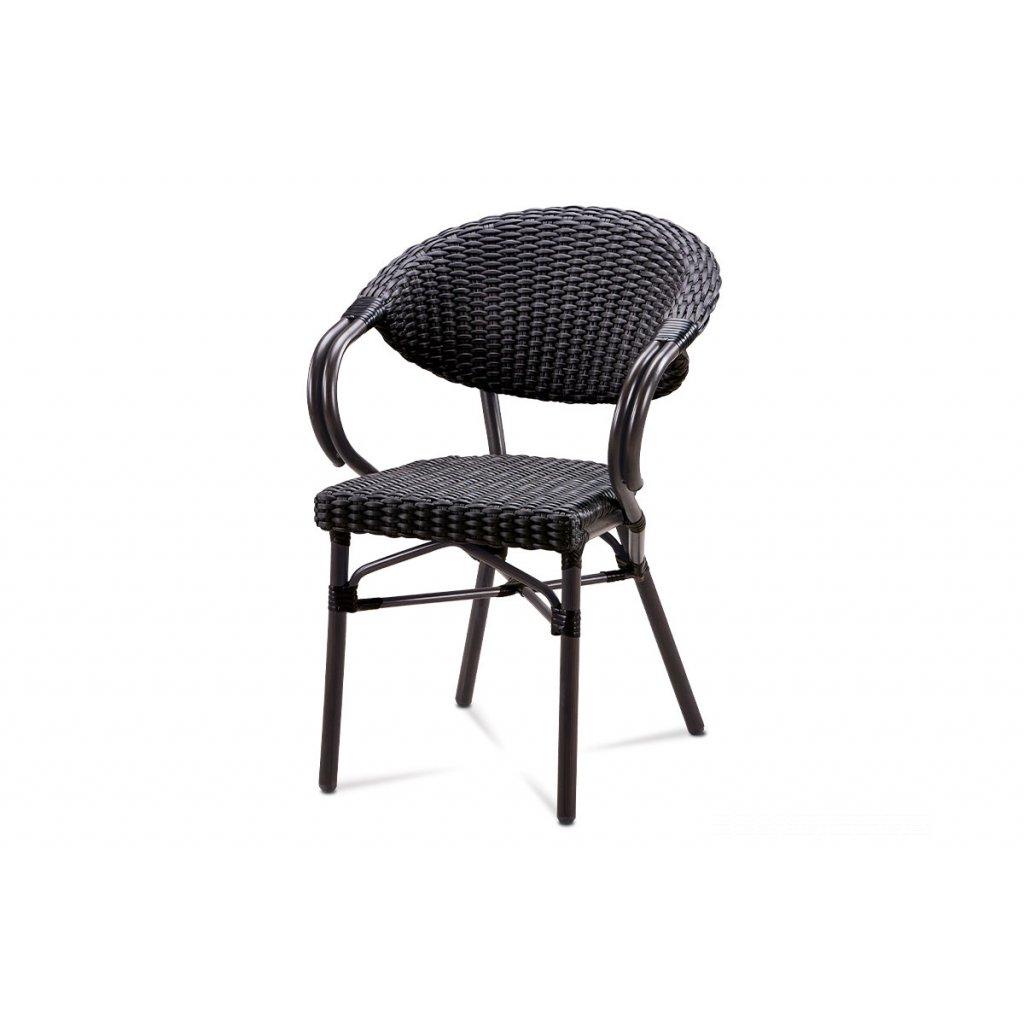 záhradná stolička, hnedý kov, čierny ratan