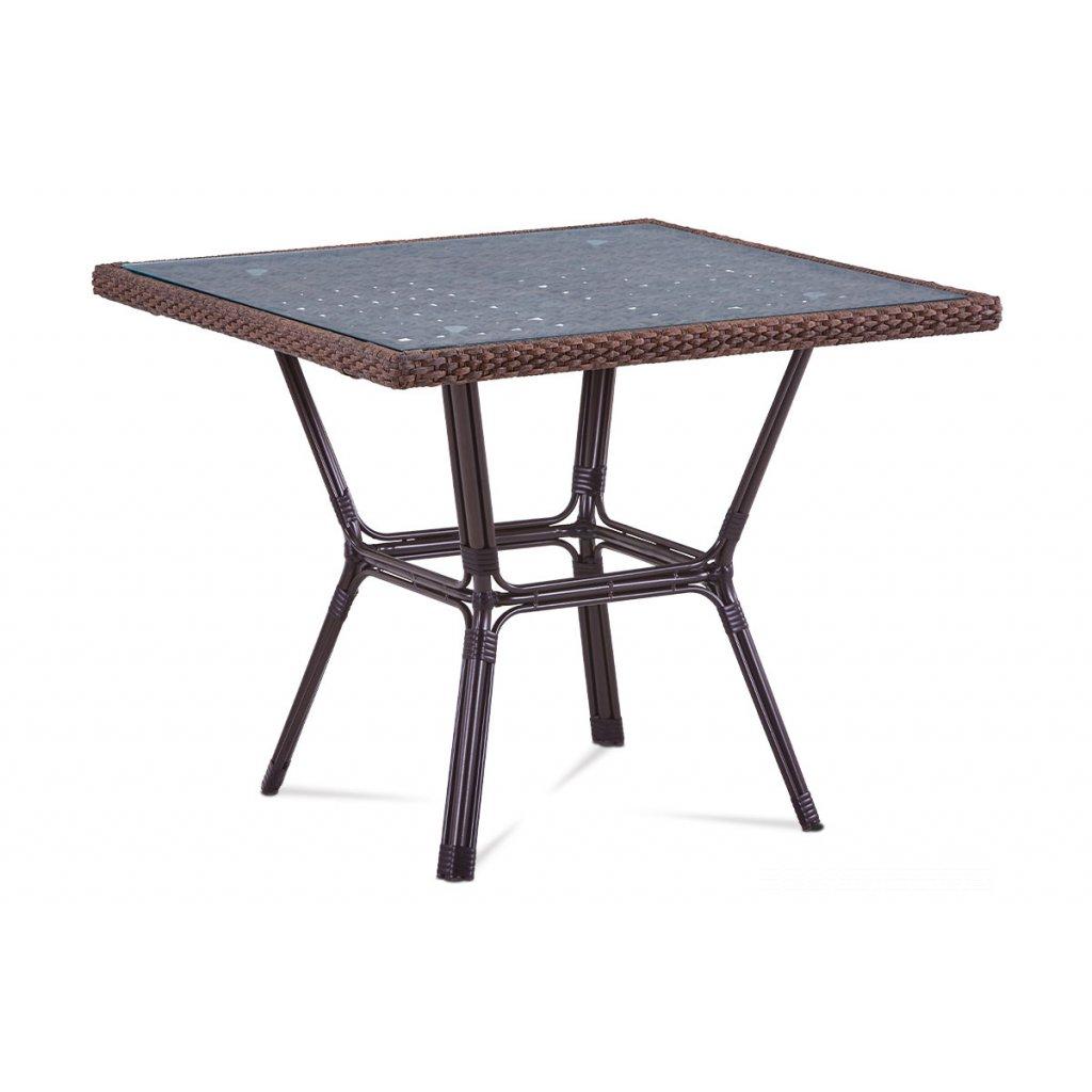 záhradný stôl, kov hnedý, umelý ratan hnedý 90x90x74cm
