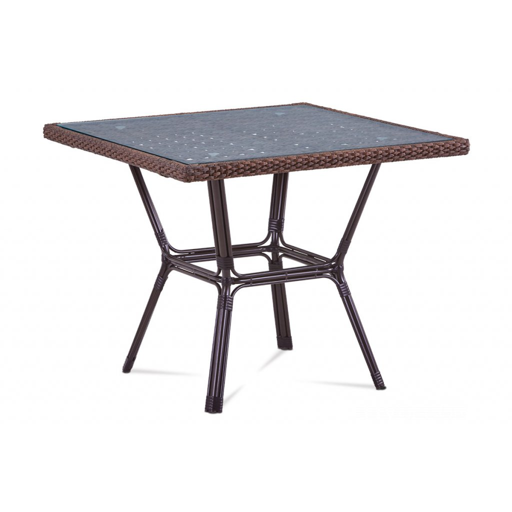 záhradný stôl, kov hnedý, umelý ratan hnedý
