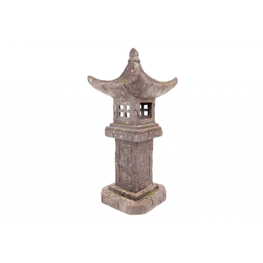 Pagoda so solárnym LED svetlom (batérie na solárne dobíjanie), záhradná magneziová keramika 32X32X79cm