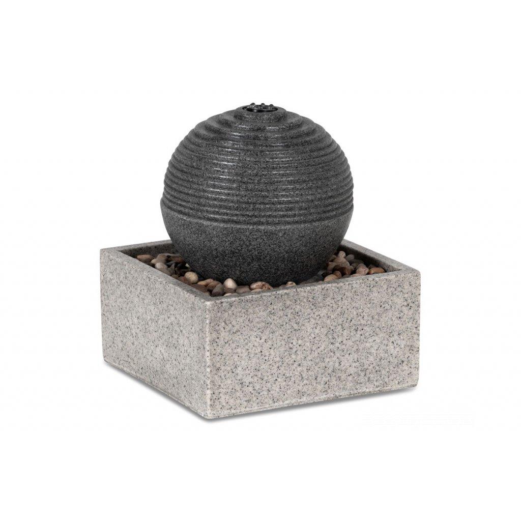 Záhradna fontána s LED osvetlením, čierny a sivý polyresin v dekore kameňa, elektrické miničerpadlo 240V/12V