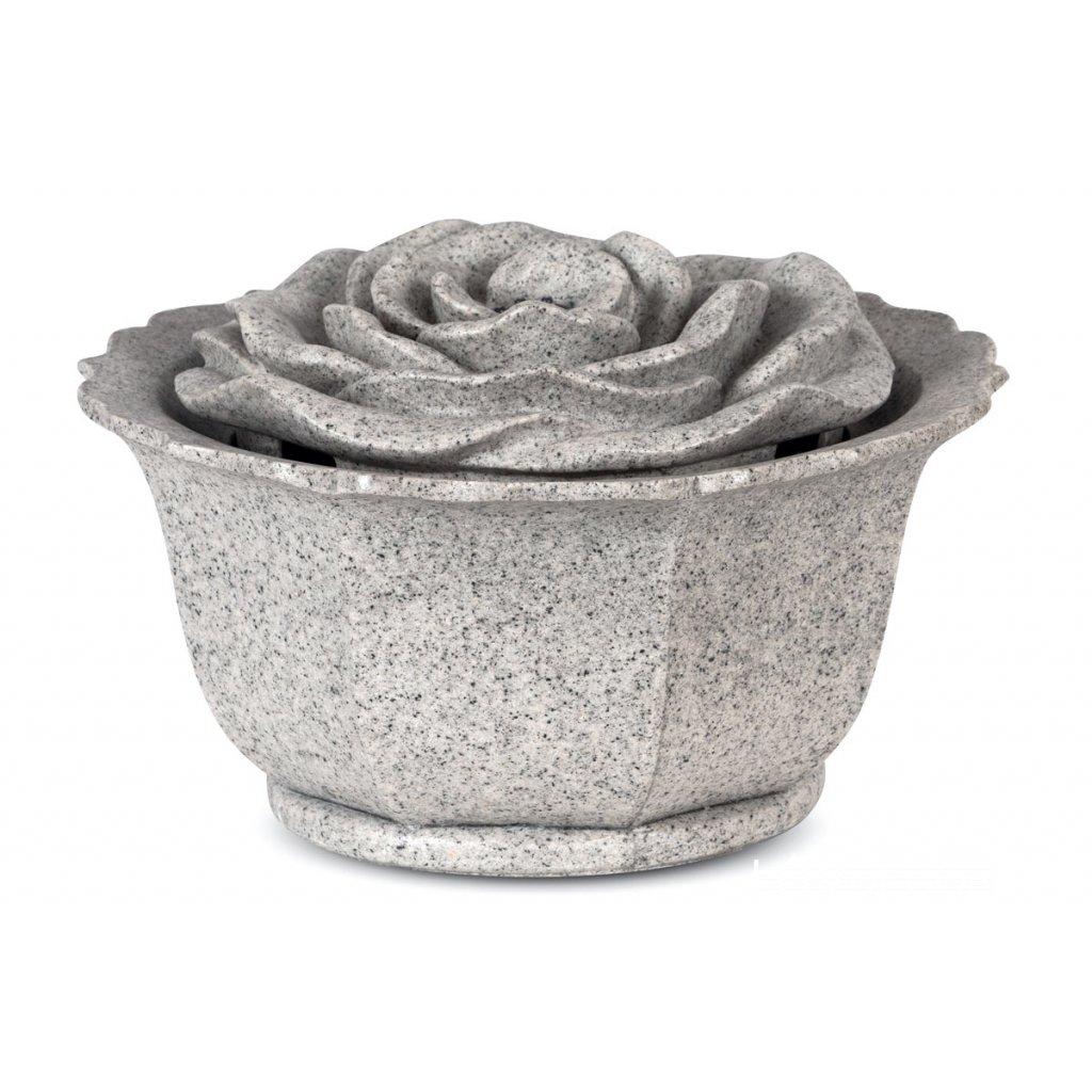 Záhradna fontána s LED osvetlením, sivý polyresin v dekore kameňa, elektrické miničerpadlo 240V/12V
