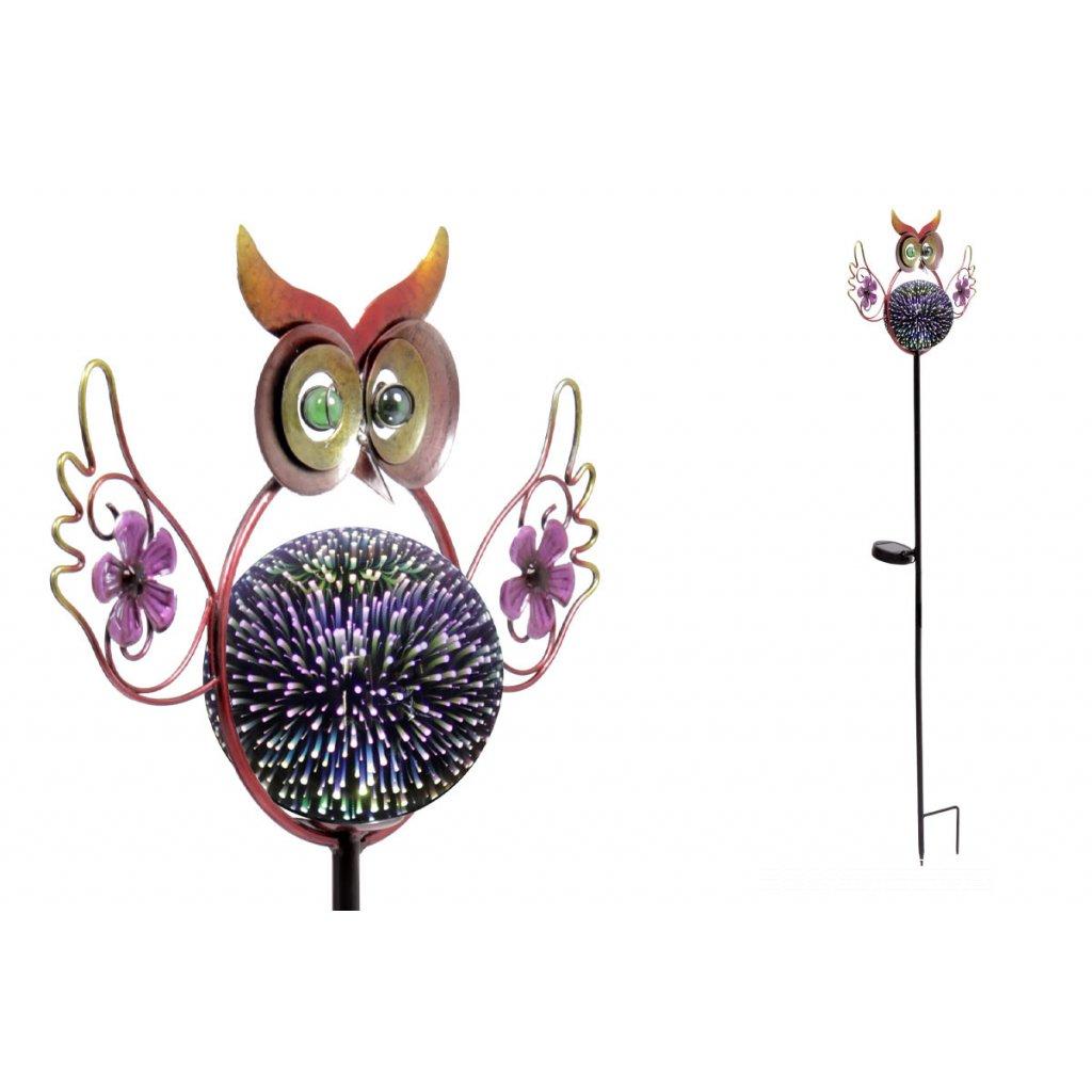 sova s LED svetlom, kovová záhradná dekorácia, zápich (batéria na solárne dobýjanie) 25x104x10cm