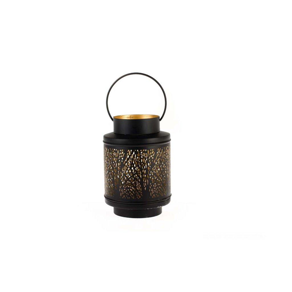 Kovová lucerna, strom čierna 14×21×14cm