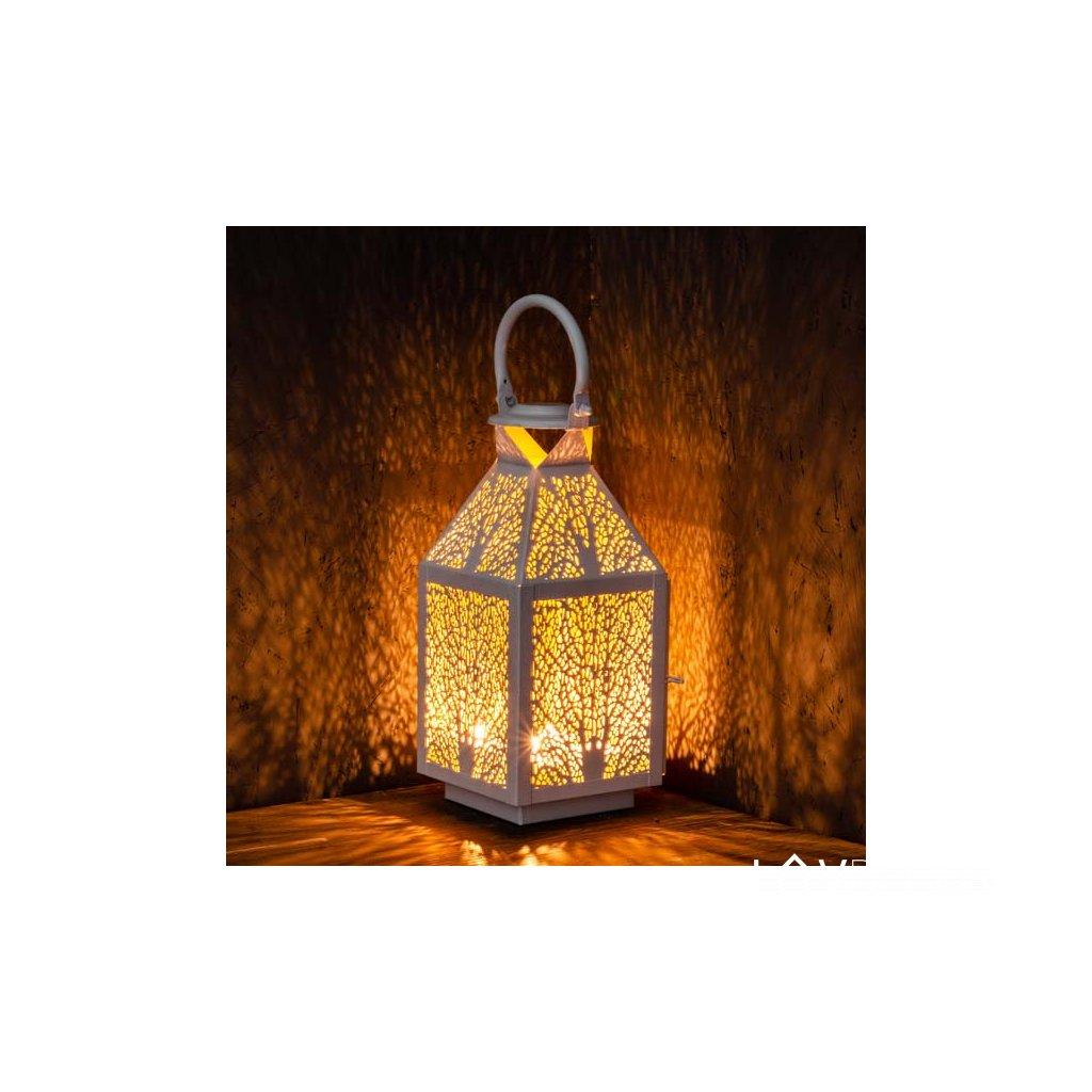 Kovový lampáš biely 13×30×13cm